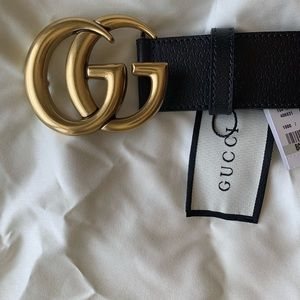 Gently worn Black leather Gold buckle GG